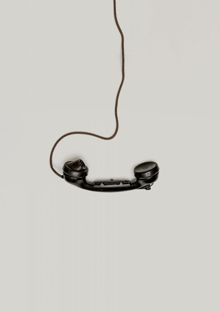 black corded telephone